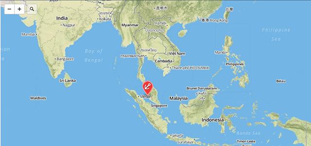 Mapa de la zona de la base de Penang
