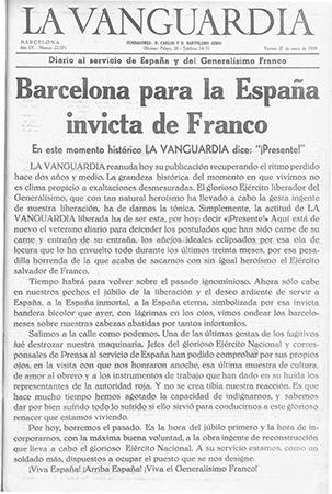 """Portada de La Vanguardia del 27-1-1939, recuperant la numeració d'abans de la guerra, i encara manté aquesta """"desviació"""""""
