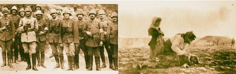 Mustafá Kemal Atatürk y otros oficiales turcos en Galípoli (izq.). Una mujer armenia arrodillada junto a una niña muerta en las cercanías de Alepo. (Fuente: Wikimedia).
